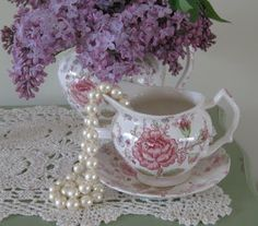 Lilacs, pearls and lace, is there anything more feminine?