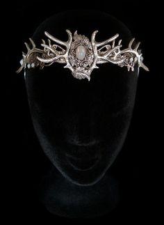 Antlers Crown Deer Faun Headdress Dryad Hair Tiara Circlet White Opal Silver Nymph Wiccan Wedding Moonstone Bridal Queen Baratheon