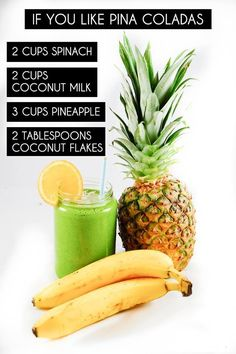 healthy, non alcoholic pina colada flavored smoothies! Juice Smoothie, Smoothie Drinks, Healthy Smoothies, Healthy Drinks, Smoothie Recipes, Healthy Snacks, Healthy Eating, Healthy Recipes, Morning Smoothies