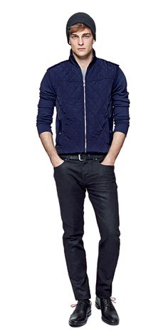 Guys, transition into fall with this Quilted Hybrid jacket from Banana Republic.