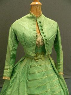 Mid 19th century 'arsenic green' dress, with day bodice. Eleanor Keene