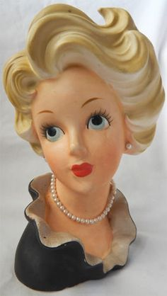 "Vintage Ceramic 8"" Head Vase Planter Modern Miss Lady Pearls Upsweep Hairdo | eBay"