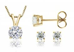 PARIKHS Round Diamond Pendant  Stud Set Popular Quality in Yellow Gold 055 ctw I2 clarity *** You can get more details by clicking on the image.(This is an Amazon affiliate link and I receive a commission for the sales)