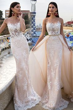 Stunning Tulle & Satin Bateau Neckline 2 In 1 Wedding Dresses With Lace Appliques 2 In 1 Wedding Dress, Classic Wedding Gowns, Stunning Wedding Dresses, Affordable Wedding Dresses, Wedding Dress Styles, Dream Wedding Dresses, Bridal Dresses, Tulle Ball Gown, Marie