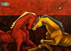 """Celebrate Valentine's Day with your love and Give the gift of art this year.  Known for his expressing the feeling of love with colourful animal based-paintings on canvas Dinkar Jadhav has painted """"Love knows no Reason"""" which express the feeling of animals. Explore this here - http://goo.gl/EmQaCY  #IndianArtIdeas #BuyArtOnline"""