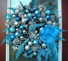 BLUE & SILVER PEACOCK CHRISTMAS WREATH~~Q's Creations #Handmade