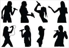 Girl Silhouette   Girls Singing Silhouette Clip art packcategory: Women Vector Graphics