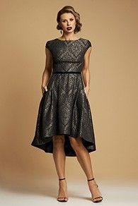 Rochie Eleganta Asimetrica din Brocart Negru - Evening Dress from Brocart Aw 2017, Dress Making, High Low, Evening Dresses, Product Description, Couture, Vintage, Style, Fashion