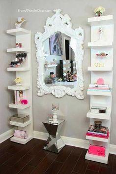Beauty room decor - how i style my ikea shelves girls bedroom, yatak odası Vertical Bookshelf, Girls Bedroom, Bedroom Decor, Bedroom Ideas, Bedrooms, Lack Shelf, Beauty Room Decor, Ikea Shelves, Shelving