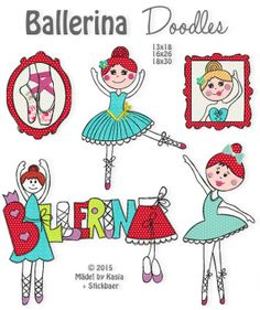 Ballerina Doodles - Ballerina Doodles In 3 sizes Do you like dancing? Or are you by chance yourself a ballerina or want to become one? Then our Ballerina Doodles Embroidery Files, Machine Embroidery, Doodles Zentangles, Draw Something, Comics, Fabric, Ballerinas, Doodle, Bruges Lace