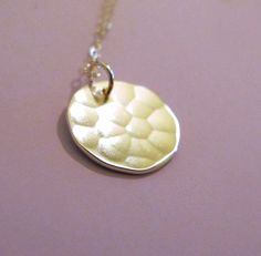 14k Gold Necklace  Hammered Disc by esdesigns on Etsy
