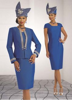Beautifully made 2 piece women dress by Donna Vinci. Featuring an elaborated rhinestones details on the jacket. Made in a delicate silk look fabric. Church Suits And Hats, Church Attire, Women Church Suits, Church Dresses, Church Outfits, Suits For Women, Derby Dress, Sunday Dress, Womens Dress Suits