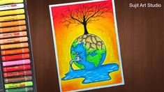 How to draw Save Water Save Nature Poster Drawing - step by step Earth Day Drawing, Earth Drawings, Nature Drawing, Life Drawing, Drawing Step, Oil Pastel Colours, Oil Pastel Art, Oil Pastel Drawings, Oil Pastels