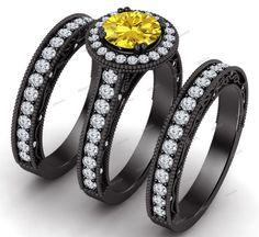 2.10 Ct Sapphire & Sim Diamond 3 Pcs Engagement Bridal Set in 14Kt Black Gold FN #Affoin8
