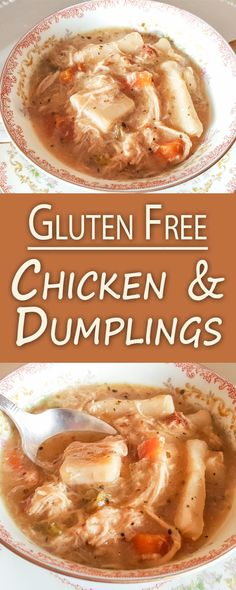 Gluten-Free Chicken & Dumplings is the quintessential comfort food and one of my family's all-time favorite cold weather recipes! Robust with rich flavors and packed with hearty vegetables, shredded chicken, and buttery dumplings! Entree Recipes, Dinner Recipes, Yummy Recipes, Recipies, Gluten Free Breakfasts, Gluten Free Recipes, Free Chickens, Sauteed Vegetables, Dumpling Recipe