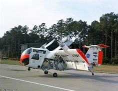Rotating wing: The Vertol VZ-2 aircraft, this aircraft was a tilt-wing VTOL (vertical take-off and landing), on a runway, this aircraft firs...
