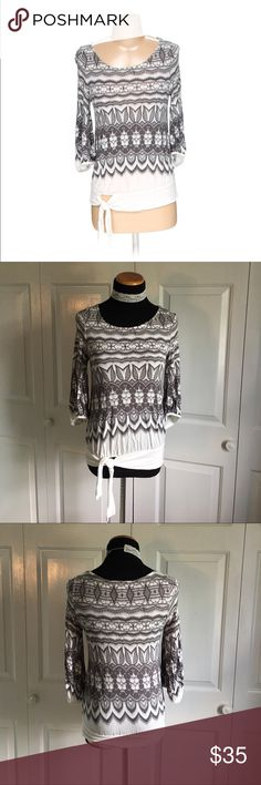 Deletta By Anthropologie Lace Top White 3/4 sleeve top with gray Lace pattern. Excellent condition no flaws. Size XS, could fit a small too IMO. Anthropologie Tops