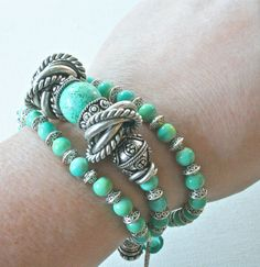 Wrap Bracelet, Turquoise Bracelet, Silver Bracelet, Turquoise and Silver Bracelet, Gifts for her, Gift Ideas. $64.00, via Etsy.
