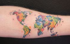 Colorful world map tattoo - 25 Awesome Map Tattoos  <3 !