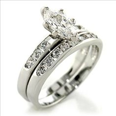 1ct cz Marquise cut Bridal Wedding Ring 2 pc set Platinum Plated The Knot Jewelry. $16.99. platinum-plated. Cubic zirconia. Wedding ring set. Bridal. Designer