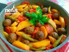 Misket Köfteli Patates Yemeği Turkish Recipes, Ethnic Recipes, Turkish Kitchen, Pot Roast, Fruit Salad, Cantaloupe, Sweet Potato, Yogurt, Food And Drink