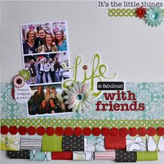 Love this idea from the CM Blog Hop of creating the ribbon look at the bottom of the page.  It also shows so many of the beautiful new colors in the Enchanted Power Palette! #scrapbooking
