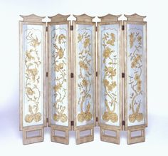 Silvered eglomise folding screen by James Mont, circa 1950s.