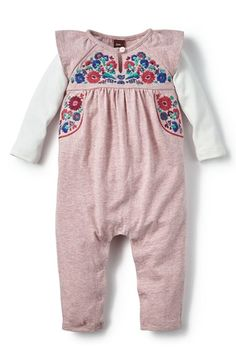 Tea Collection 'Yarii' Embroidered Romper (Baby Girls) available at #Nordstrom