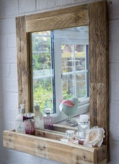 Pallet Ideas Pallet Wood Mirror Frame with Storage - Reclaimed wood, galvanized metal, rough stone and cast iron are all part of rustic bathroom decor ideas. See the best designs and try them at home! Rustic Bathroom Mirrors, Rustic House, Rustic Bathroom Designs, Diy Furniture, Home Decor Items, Home Decor, Pallet Furniture, Bathroom Mirror With Shelf, Rustic Bathroom Decor