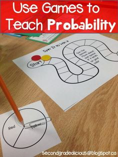 Teaching Probability through games and spinners. This is a great way to make math fun! Data and Probability standard: Understand and apply basic concepts of probability. Probability Games, Math Games, Math Activities, Math Classroom, Kindergarten Math, Teaching Math, Teaching Tips, Math Literacy, Classroom Freebies
