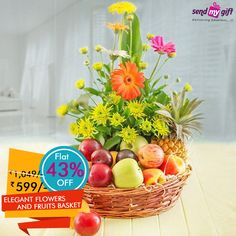 #Deal Of The #Day!  Get this unique 2 in 1 combination of Elegant #Flowers and #Fruits-#Basket at just Rs 599. Flat 43% OFF on this amazing deal. Get #Health and #Beauty both in the same basket.  #Sendmygift, Delivering emotions! ... See more