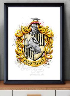 Harry Potter Hufflepuff cresta acuarela arte por GenefyPrints