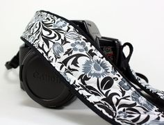 Floral dSLR Camera Strap Black White GreySLR by CoopersCollars, $26.00
