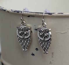 Antiqued Owl Dangle Earring by FoxCharmDesigns on Etsy