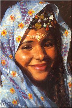 Cuadro: Mujer hindú (22x27 cm, Óleo sobre tabla) - Pintor: José Manuel García López - Referencia: 0919