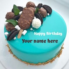 Write Name on Chocobar Candy and Oreo Toppings Cake.Print Name on Lovely Birthday Cake.Sky Blue Round Cake With Delicious Toppings on Cake Topper.Make Name Cake Write Name On Cake, Birthday Cake Write Name, Birthday Cake Greetings, Happy Birthday Wishes Cake, Birthday Wishes For Kids, Happy Birthday Flower, Cake Name, Butterfly Birthday, Funny Birthday