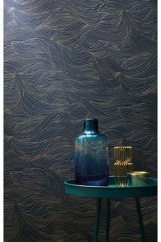 Papier peint Alula Wave bleu / or - fleur de Casamance
