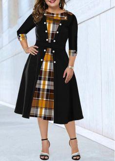 Plus Size Dress Button Detail Dress Plaid Print Dress Sleeve Dress Black Casual Dress Plus Size Plaid Print Button Detail Dress Latest African Fashion Dresses, Women's Fashion Dresses, Casual Dresses, Trendy Dresses, Early Fall Fashion, Chiffon Cardigan, Chiffon Dress, Necklines For Dresses, Classy Dress