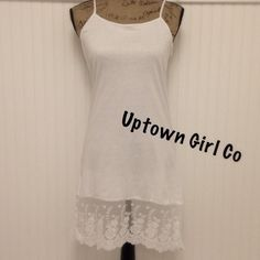 New Dress Slip Extender 100% cotton lace slip dress extender. Cute under dresses that are to short. Lace shows. Also cute as a nighty. I have these in 2 colors and 4 sizes. Black and White Uptown Girl Co Intimates & Sleepwear Chemises & Slips