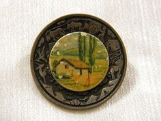 VINTAGE JEWELRY METAL BROOCH LANDSCAPE COLORFUL
