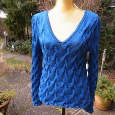 Zopfpullover royal-blau von Meine Strickerei auf DaWanda.com