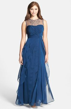 Embellished Twist Front Mesh Gown
