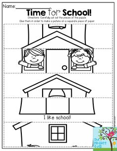 Time for School- a simple puzzle for Kindergarten! Cut the pieces out and glue them in order to create a picture. Back to School NO PREP Packet for September! Color Worksheets For Preschool, Preschool Puzzles, Body Preschool, Back To School Art, Back To School Pictures, Step By Step School, English Primary School, First Day Of School Activities, School Programs
