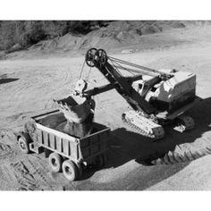 Free Shipping. Buy Excavator loading rock dirt into a dump truck Canvas Art -  (18 x 24) at Walmart.com