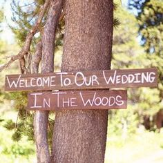Gorgeous hand painted signage and artwork defined this amazing wedding in the woods near Tahoe at the Hideout! by Emily Heizer