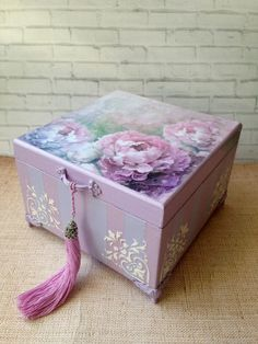Casket Storage Box Wood Siren - Casket storage box tree Lilac peonies decoupage – buy in the online store at the Masters Fair wit - Decoupage Box, Decoupage Vintage, Vintage Crafts, Diy Crafts For Girls, Diy And Crafts, Wooden Jewelry Boxes, Wooden Boxes, Wooden Memory Box, Shabby Chic Crafts