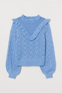 Have your own 80s moment in this adorable, ruffled sweater. The baby blue color makes it an essential summer-to-fall piece. #fallfashion #falloutfits #fallsweaters #cutesweaters #southernliving World Of Fashion, Fashion Online, Wishlist Shopping, Ruffle Collar, Pullover, Lace Knitting, Fashion Company, Pulls, Neue Trends