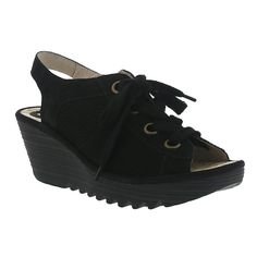 Fly London Yuta Perf Wedge Sandal in Black Leather