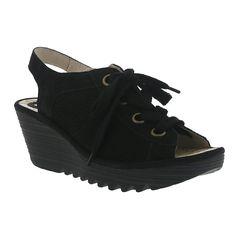 Fly London Yuta Perf Wedge Sandal in Black Leather