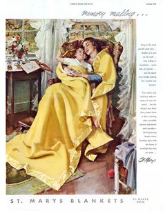 http://books0977.tumblr.com/ Mother reading to child warm under a St Marys blanket. Advertisement. Ladies Home Journal. Illustrated by John Gannam. October 1949. Memory Making…Song in the wind and the story over…shadow of a rose on the wall…time ticking in heartbeats…sweet time of security…and the warm wool blanket folding this moment into memory.